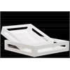 Wood Square Serving Tray with Cutout Handles Set of Two Coated Finish Light White