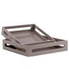 Wood Square Serving Tray with Cutout Handles Set of Two Coated Finish Light Taupe