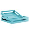 Wood Square Serving Tray with Cutout Handles Set of Two Coated Finish Light Blue