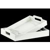 Wood Rectangular Serving Tray with Cutout Handles Set of Two Coated Finish White