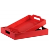 Wood Rectangular Serving Tray with Cutout Handles Set of Two Coated Finish Red