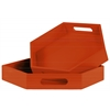 Wood Hexagonal Serving Tray with Cutout Handles Set of Two Coated Finish Orange
