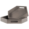 Wood Hexagonal Serving Tray with Cutout Handles Set of Two Coated Finish Taupe
