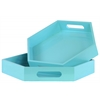 Wood Hexagonal Serving Tray with Cutout Handles Set of Two Coated Finish Light Blue