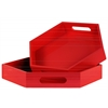 Wood Hexagonal Serving Tray with Cutout Handles Set of Two Coated Finish Red