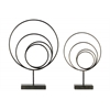 Metal Round Abstract Sculpture Design with Rectangular Stand Set of Two Rust Finish Gunmetal Gray