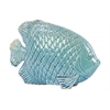 Ceramic Fish Figurine with Engraved Hexagonal Scales Gloss Finish Blue