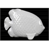 Ceramic Angel Fish Figurine with Diagonal Scales Gloss Finish White