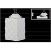 Ceramic Square 140 oz. Canister with Bronze Handle, Step Lid and Embossed Pattern Design SM Gloss Finish White