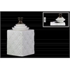 Ceramic Square 150 oz. Canister with Bronze Handle Step Lid and Embossed Pattern Design LG Gloss Finish White