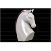 Stoneware Strutting Horse Bust with Bronze Mane LG Gloss Finish White