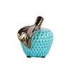 Ceramic Apple Figurine with Bronze Leaf SM Gloss Finish Turquoise