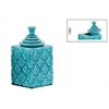 Ceramic Square 140 oz. Canister with Embossed Pattern and Step Lid SM Gloss Finish Turquoise