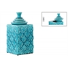 Ceramic Square 150 oz. Canister with Embossed Pattern and Step Lid LG Gloss Finish Turquoise