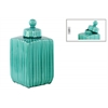 Ceramic Square 180 oz. Canister with Embossed Pattern, Lid and Spherical Handle LG Gloss Finish Turquoise