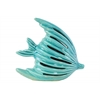 Ceramic Fish Figurine with Cutout Design Gloss Finish Turquoise