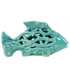 Ceramic Small Fish Figurine with Cutout Design and Coral Side Design Gloss Finish Turquoise