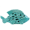 Ceramic Big Fish Figurine with Cutout Design and Coral Side Design Gloss Finish Turquoise