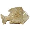 Ceramic Small Long Fish Figurine with Circular Swirl Design Gloss Finish Cream