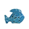 Ceramic Fish Figurine with Floral Cutout Design SM Gloss Finish Turquoise