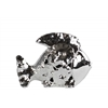 Ceramic Fish Figurine with Floral Cutout Design SM Polished Chrome Finish Silver