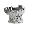 Ceramic Open Valve Clam Shellfish Bowl on Conch Shell Base Polished Chrome Finish Silver