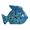 Ceramic Fish Figurine with Floral Cutout Design LG Gloss Finish Blue