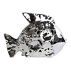 Ceramic Fish Figurine with Floral Cutout Design LG Polished Chrome Finish Silver