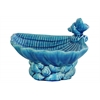 Ceramic Open Valve Clam Seashell Platter with Conch Shell Ornament on Conch Shell Base Gloss Finish Turquoise