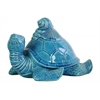 Ceramic Flatback Sea Turtle Figurine with Conch Shells on Back Gloss Finish Turquoise