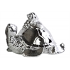 Ceramic Flatback Sea Turtle Figurine with Conch Shells on Back Polished Chrome Finish Silver