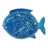 Ceramic Fish Platter with Floral Design Gloss Finish Blue