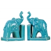 Ceramic Trumpeting Standing Elephant Bookend with Ceremonial Blanket on Base Assortment of Two Gloss Finish Turquoise