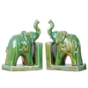Ceramic Trumpeting Standing Elephant Bookend with Ceremonial Blanket on Base Assortment of Two Gloss Finish Green