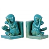 Ceramic Sitting Reading Monkey Bookend Assortment of Two Coated Finish Turquoise
