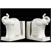 Ceramic Trumpeting Standing Elephant Bookend with Ceremonial Blanket Assortment of Two Distressed Gloss Finish White