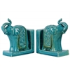 Ceramic Trumpeting Standing Elephant Bookend with Ceremonial Blanket Assortment of Two Distressed Gloss Finish Turquoise