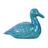 Ceramic Sitting Goose Figurine Gloss Finish Turquoise