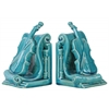 Ceramic Cello Bookend on Scroll Base Assortment of Two Distressed Coated Finish Turquoise