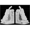 Ceramic Cello Bookend on Scroll Base Assortment of Two Distressed Coated Finish  White