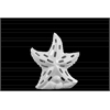 Ceramic Sea Star Figurine with Cutout Design on Shell Base SM Gloss Finish White