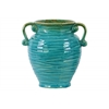 Ceramic Round Bellied Vase with Ribbed Design Body, Tapered Bottom and 2 Side Handles Distressed Gloss Finish Turquoise