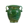 Ceramic Round Bellied Vase with Ribbed Design Body, Tapered Bottom and 2 Side Handles Distressed Gloss Finish Green