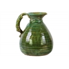 Ceramic Pitcher with Round Belly, Grapes Design Body and 1 Side Handle Washed Gloss Finish Green