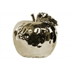 Ceramic Apple Figurine with Stem and Leaf LG Dimpled Polished Chrome Finish Champagne