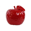 Ceramic Apple Figurine with Stem and Leaf LG Dimpled Gloss Finish Red