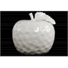 Ceramic Apple Figurine with Stem and Leaf LG Dimpled Gloss Finish White