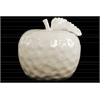 Ceramic Apple Figurine with Stem and Leaf LG Dimpled Gloss Finish Cream