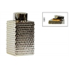 Ceramic Tall Square 140 oz. Canister with Round Lid and Embossed Polygonal Design LG  Polished Chrome Finish Champagne