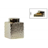Ceramic Short Square 100 oz. Canister with Round Lid and Embossed Polygonal Design SM Polished Chrome Finish Champagne